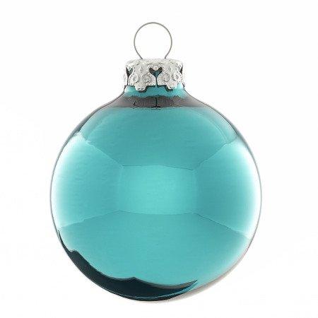 Christbaumkugeln Türkis Glas.Weihnachtskugeln Türkis Petrol Glänzend 8cm