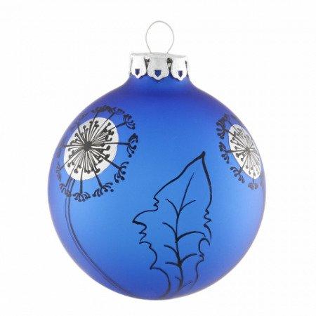 Christbaumkugel mit pusteblume in blau schwarz for Christbaumkugeln blau