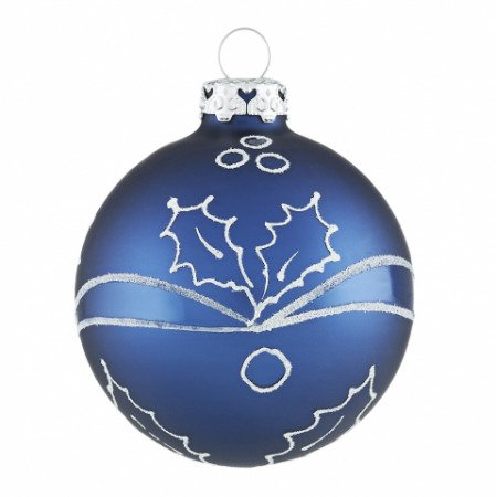Christbaumkugeln mit ilexranken in ozeanblau wei - Blaue christbaumkugeln ...