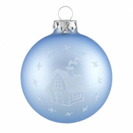 Christbaumkugeln Weiß.Christbaumkugeln Schneebedecktes Haus Himmelblau Weiß
