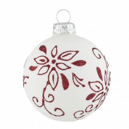 Christbaumkugeln Perlmutt.Christbaumkugeln Weihnachtsstern Weiss Leuchtend Rot