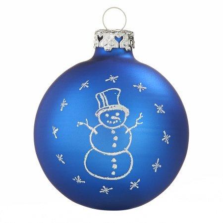 Tiefdruck glaskugeln schneemann royalblau 7cm for Christbaumkugeln blau