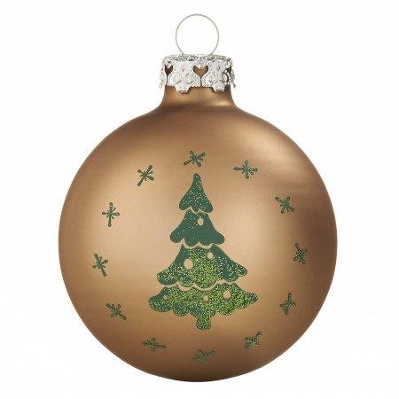 Braune Christbaumkugeln.Christbaumkugeln Verschneiter Tannenbaum Haselnussbraun Oliv