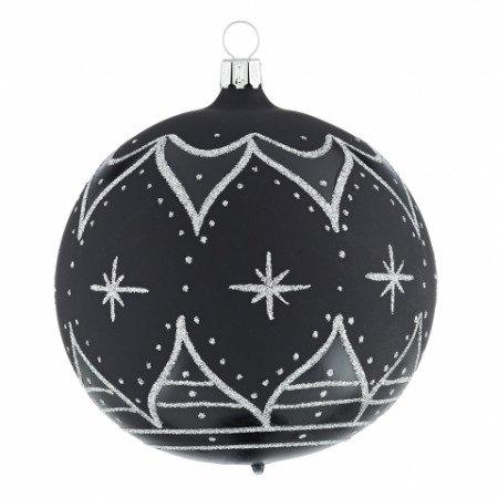 Christbaumkugeln Glas Schwarz.Christbaumkugeln Zarenfenster Schwarz Silber 10cm