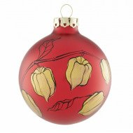 Christbaumkugel Lampionblume Rot-Gold