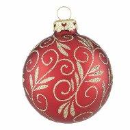 Christbaumkugeln Glas Rot Gold.Christbaumkugeln Mit Weihnachtsranken In Weihnachtsrot
