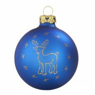 Christbaumkugeln Elch Royalblau-Gold